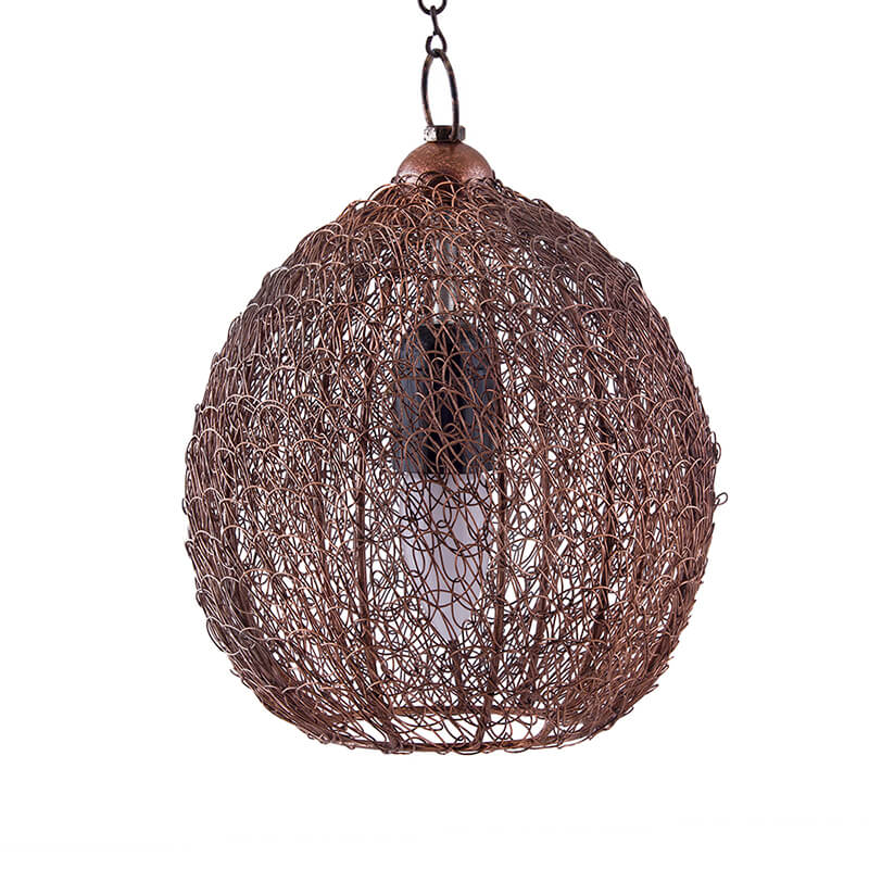 Classic Twisted Wire Round Hanging Pendant Light, Antique Copper Hanging Fixture Lamp