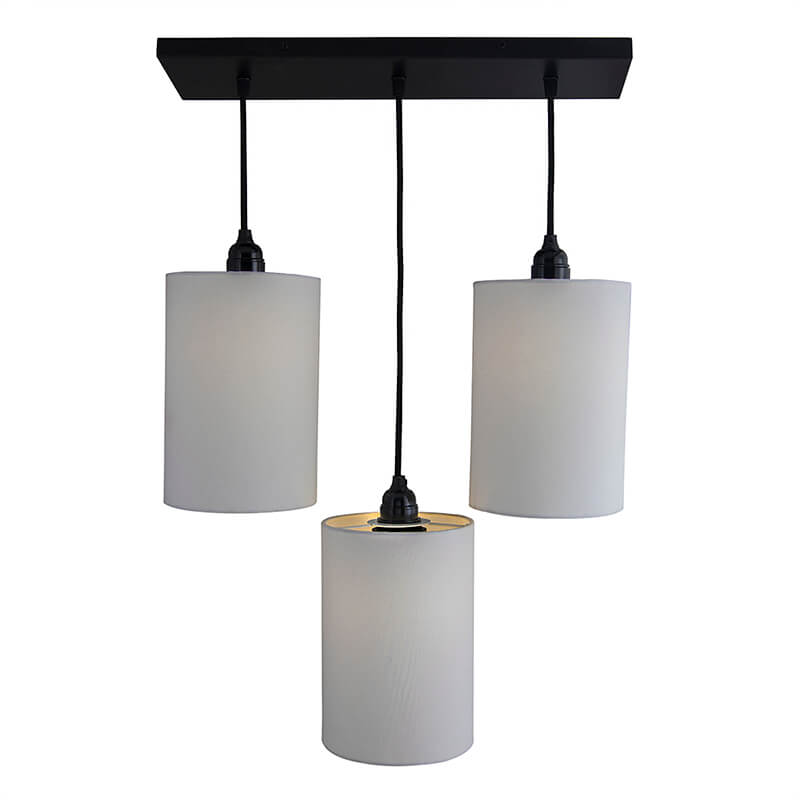 3-Lights Linear Cluster Chandelier White Shade Hanging Pendant Light, Kitchen Area and Dining Room Light