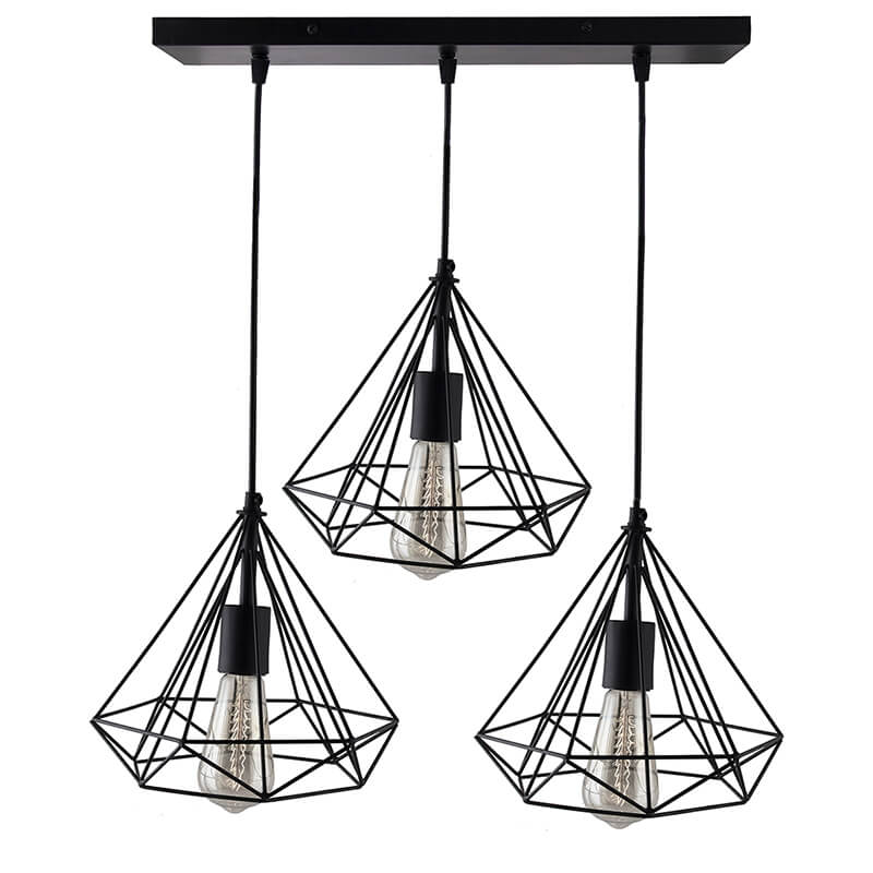 3-Lights Linear Cluster Chandelier Black Diamond Hanging Pendant Light, Kitchen Area and Dining Room Light