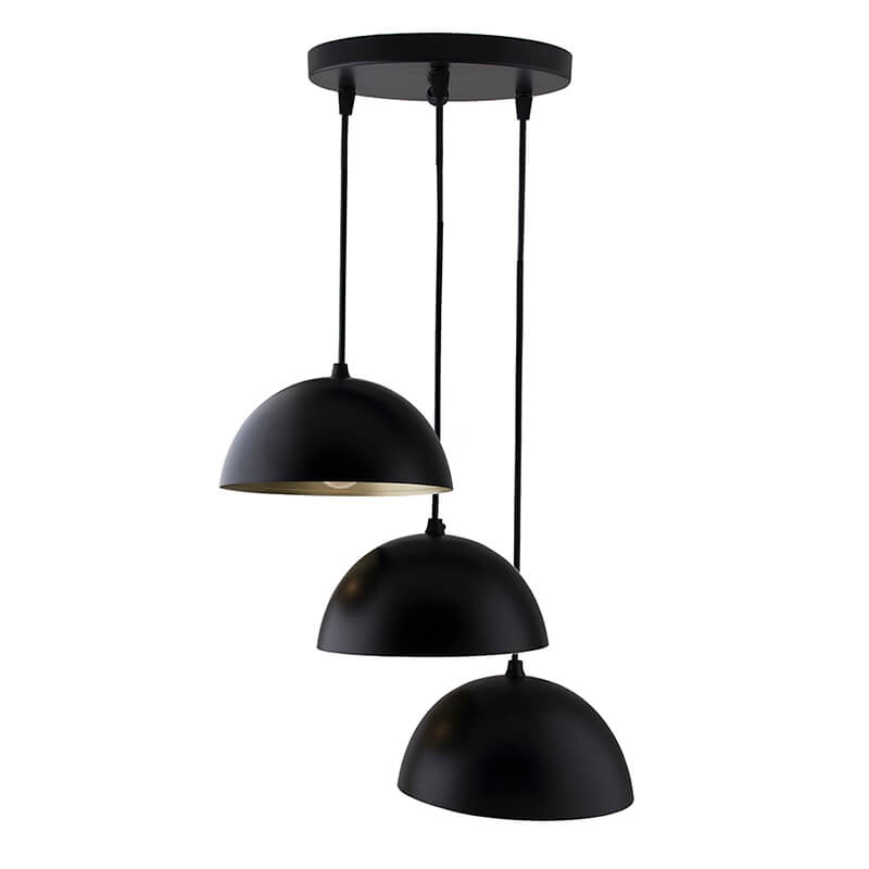 "3-Lights Round Cluster Chandelier Black 8"" Pendant Hanging Pendant Light with Braided Cord"