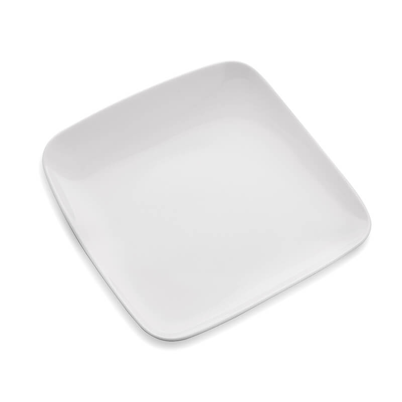 White Fine Porcelain Square Small Serving Platter, Set of 2, Bone China for Snacks, Fruits