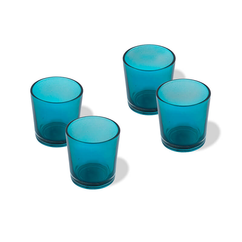 Glossy Votive Set (4 Pieces) Turquoise Glass Candle Holder, with T-Lights
