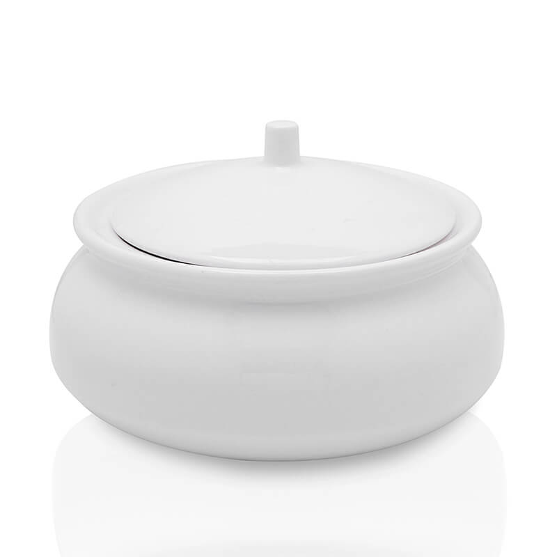 White Fine Porcelain Serving Bowl with Lid, Bone China Casserole for Gravy, Dish Serving