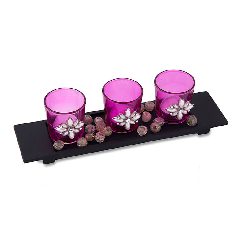 Pearl Votive with Wood Tray Pink