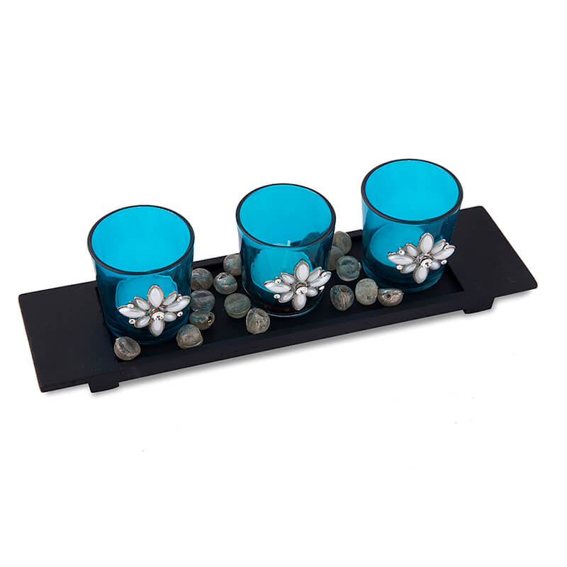 Pearl Votive with Wood Tray Turquoise