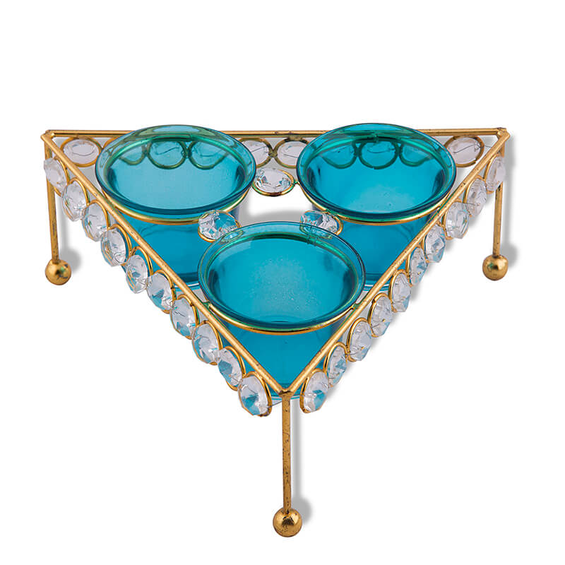 Crystal Tri Votive Stand (with 3 Votive) Turquoise, Candle Holder with Tealight Candles