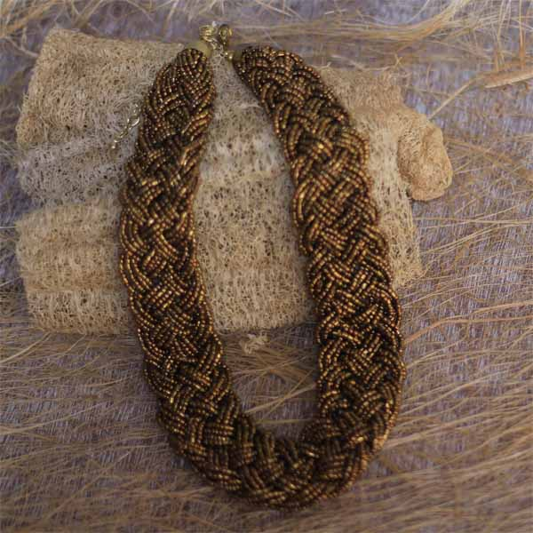 Braided Antique Gold Glass Seed Beads