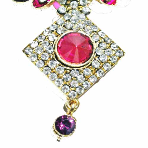 Stone studded Pink-Green necklace alongwith earrings and Maang-Tika
