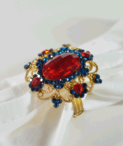 Royal Scarlet Stone Turtle with Gold Finish napkin Ring