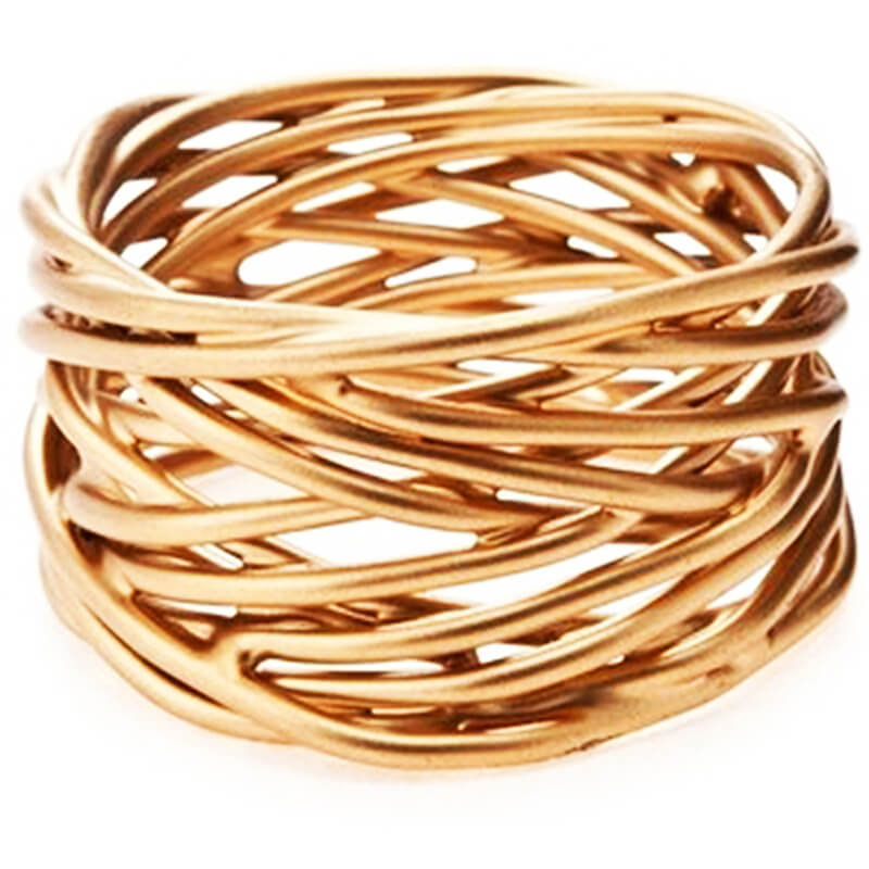 Twisted wire napkin ring in Gold finish, set of 6