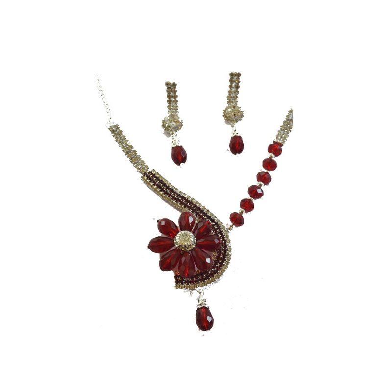 Dazzling Crystal Red Colour Flower shaped set with earrings