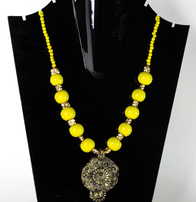 Aureolin Yellow with Antique Drop Delight Pendant Necklet