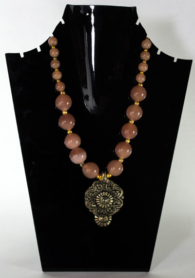 Peach Glass stone with Antique Drop Delight Pendant Necklet