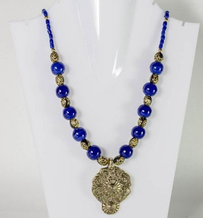Cerulean Blue Beads with Antique Drop Delight Pendant Necklet