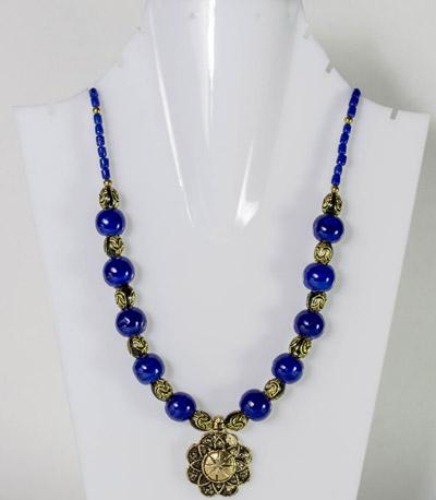 Cerulean Blue Beads with Regal Flower Antique Pendant Necklet