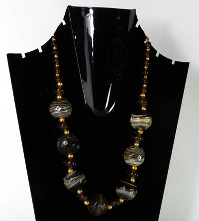 Luster Black Beads with antique Drop Delight Pendant necklet