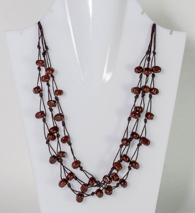 Three Layer Chocolate Brown Bead