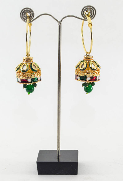 Kundan Jhumki with Green Drop