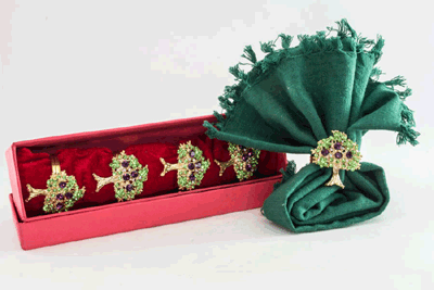 Golden Tree of Life with Green Crystal napkin Ring (Set of 4)