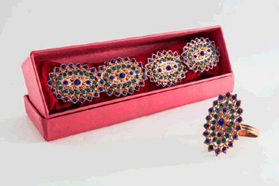 Crystal Ovoid Napkin Ring -Copper Finish (Set of 4 pcs)