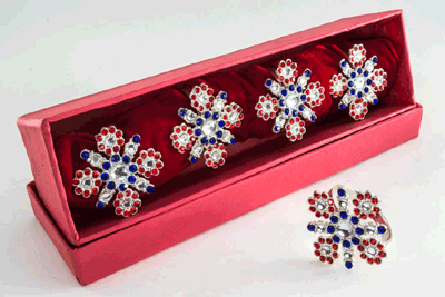 Scarlet-Azure Cross Diamond Silver Plated napkin Ring