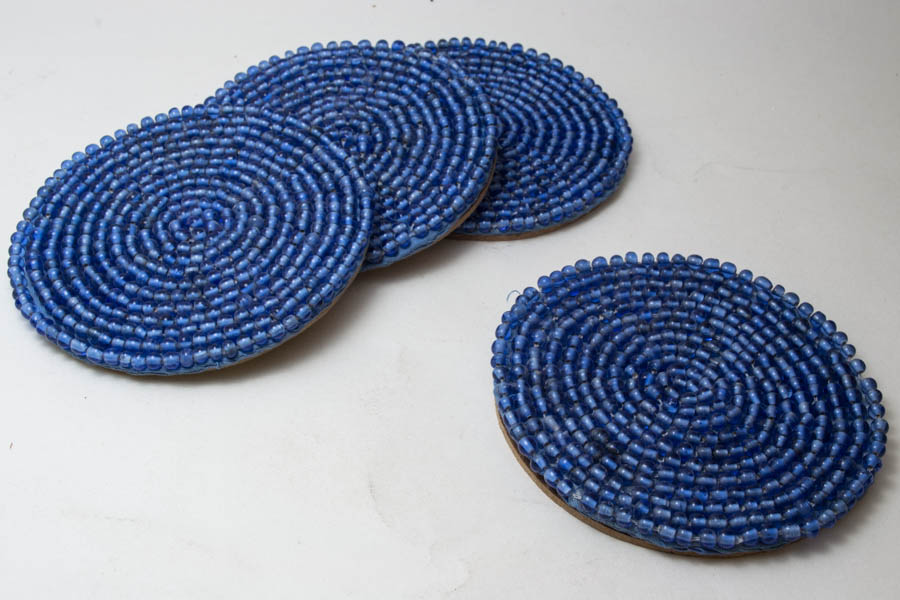 Round Azure Glass Bead Coasters (4 Pc)