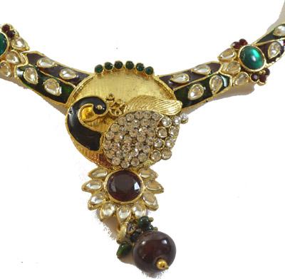 Elegant peacock meena set with earrings and maang tika