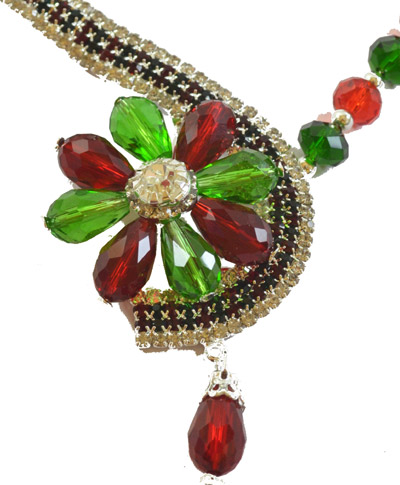 Dazzling Crystal Red Green Flower shaped set with earrings