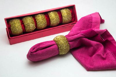 Wide Barrel Bead Wrap Napkin Ring in Royal Gold