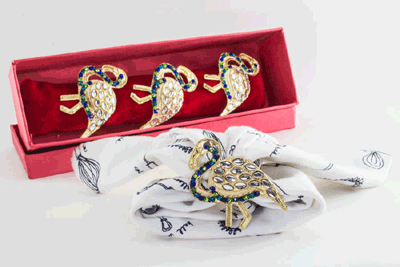 Golden Duck Napkin ring with Azure Blue Neck