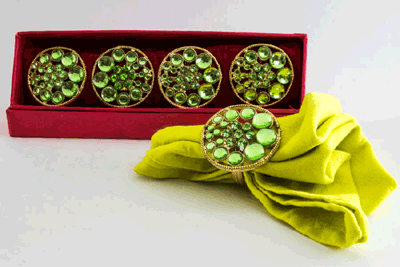Stacked Caribbean-Green Crystal Napkin Ring (Set of 4)