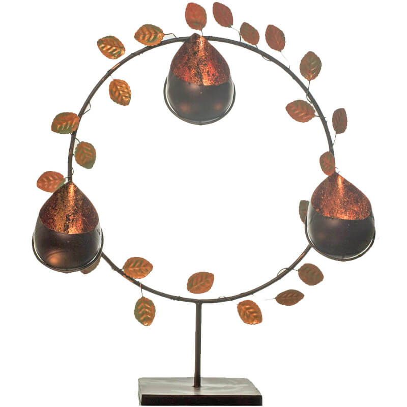 Round Stand with Copper Luster Drops, Table Candle Holder with T-Light