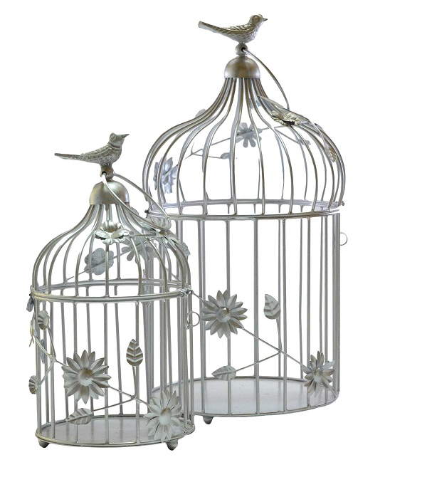 Silver Bird Cage with floral vine (Set of 2)