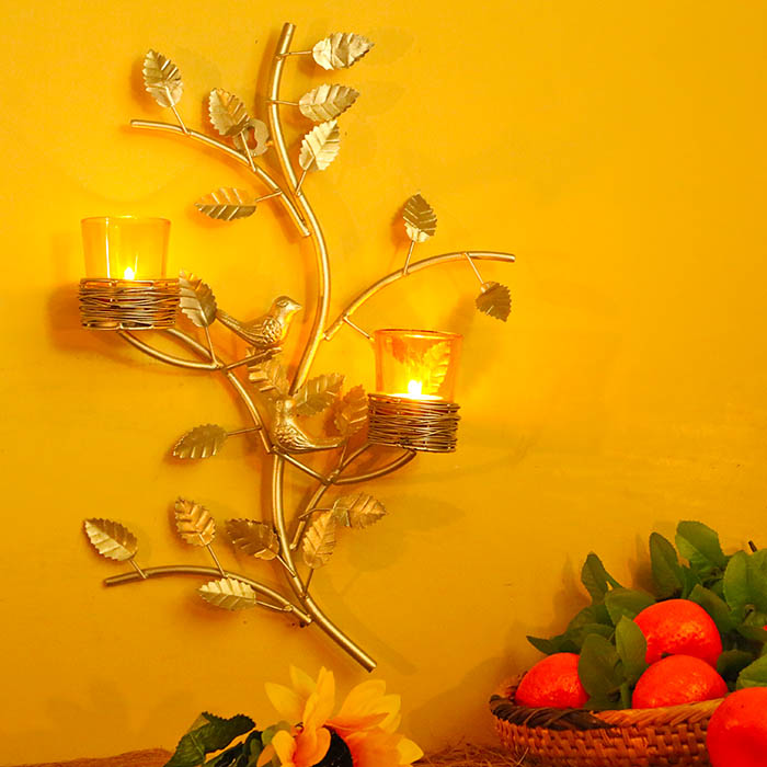 Silver Tree with Bird Nest Yellow Votive Stand