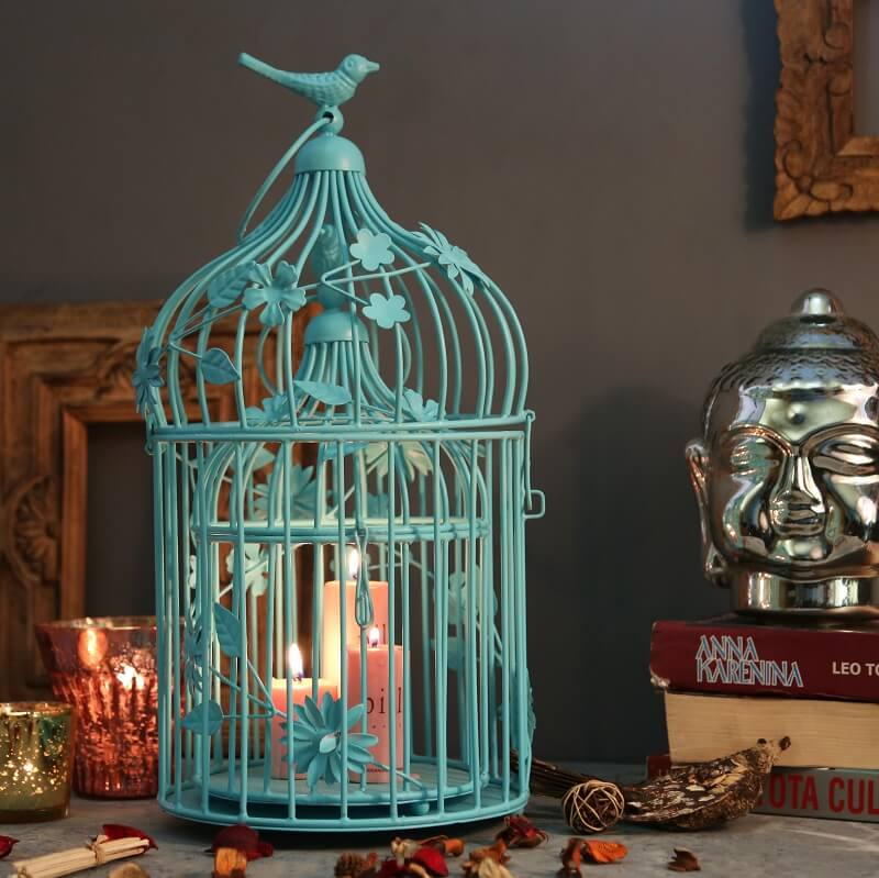 Turquoise Bird Cage with Floral Vine (Set of 2), with Hanging Chain