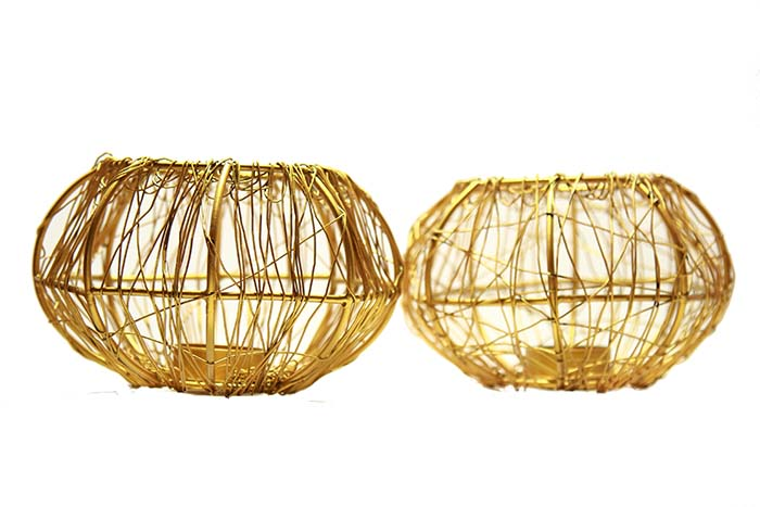 Wire Tangle Big Silver  (Set of 2 Pcs) with T-lights