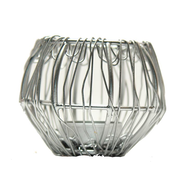 Wire Tangle Small Golden T-Light Holder Set of 2