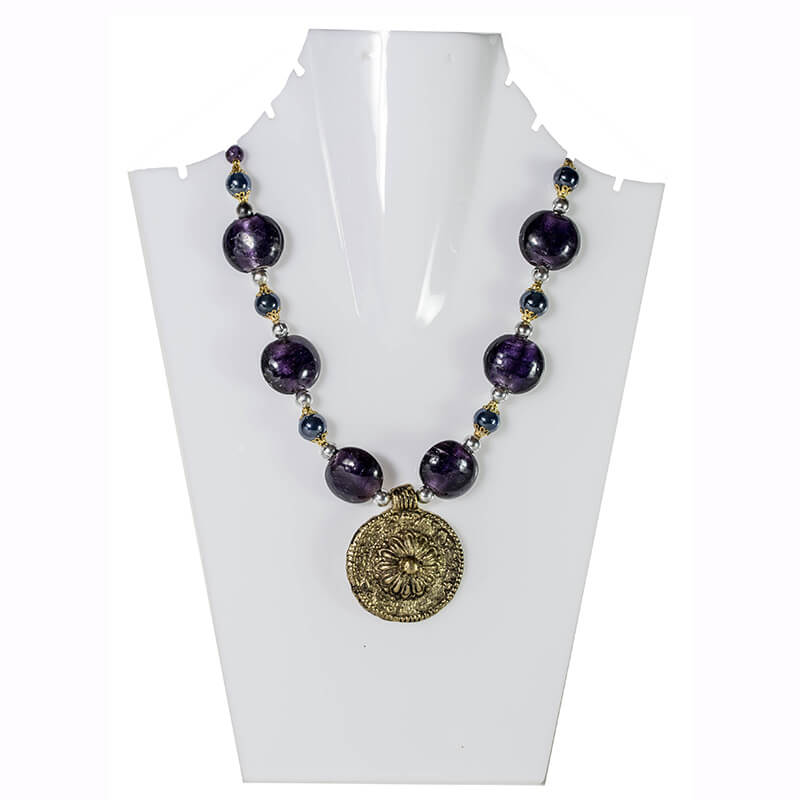 Luster Black Beads with antique Sunshine Pendant Necklet