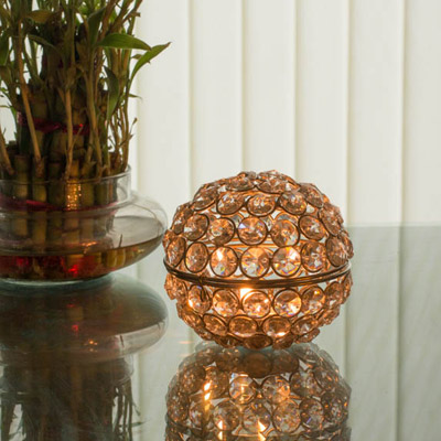 Bowl of Fire- Crystal Bowl Votive with T Light Stand (Set of 2) Gold