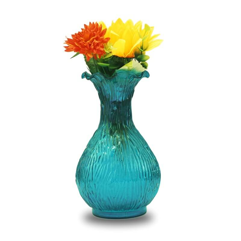 Turquoise Luster Ribbed Flower Vase