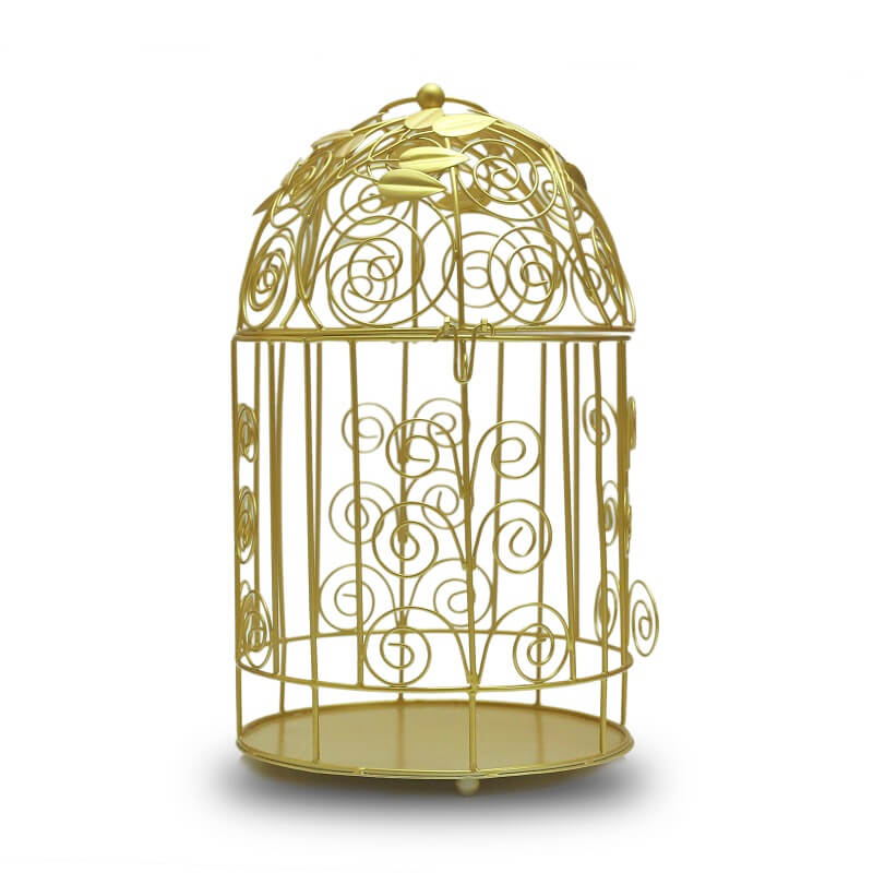 Victorian Golden Bird Cage with Leafy Climber, with Hanging Chain