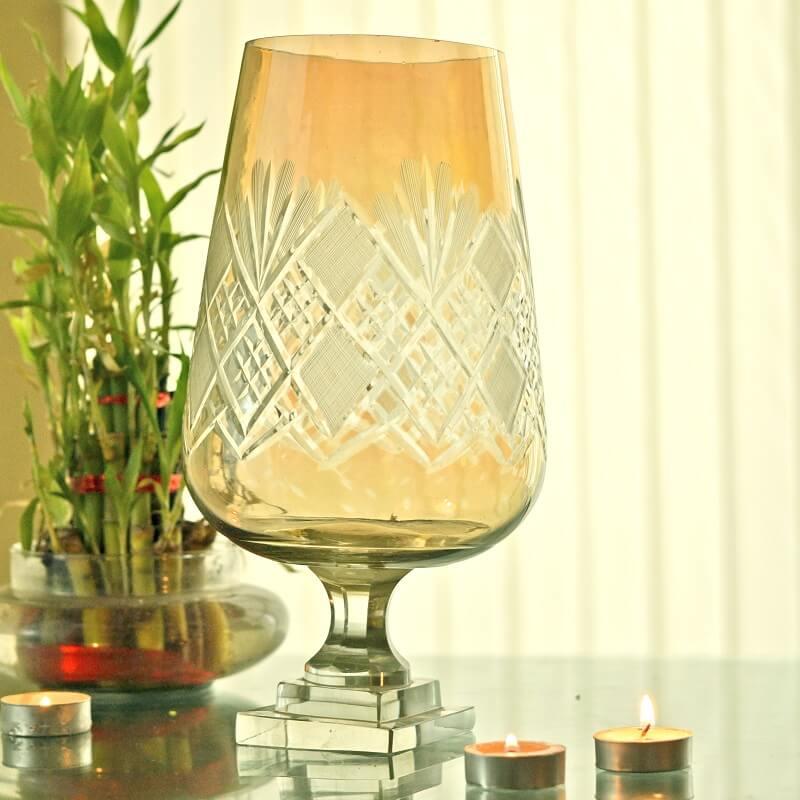 Diamond Base Floral Glass Cut Hurricane