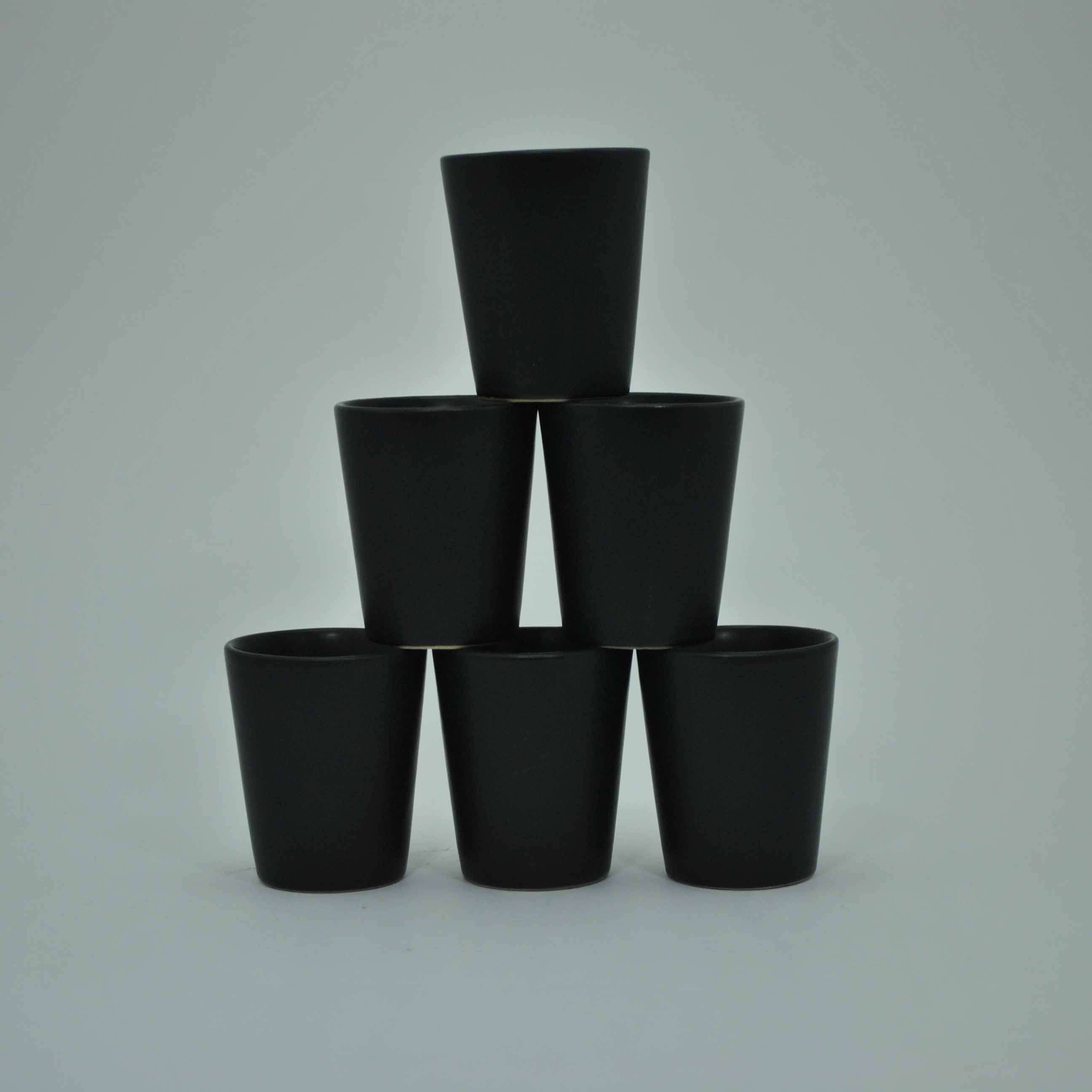 Ceramic Shot Glasses Black (set of 6)