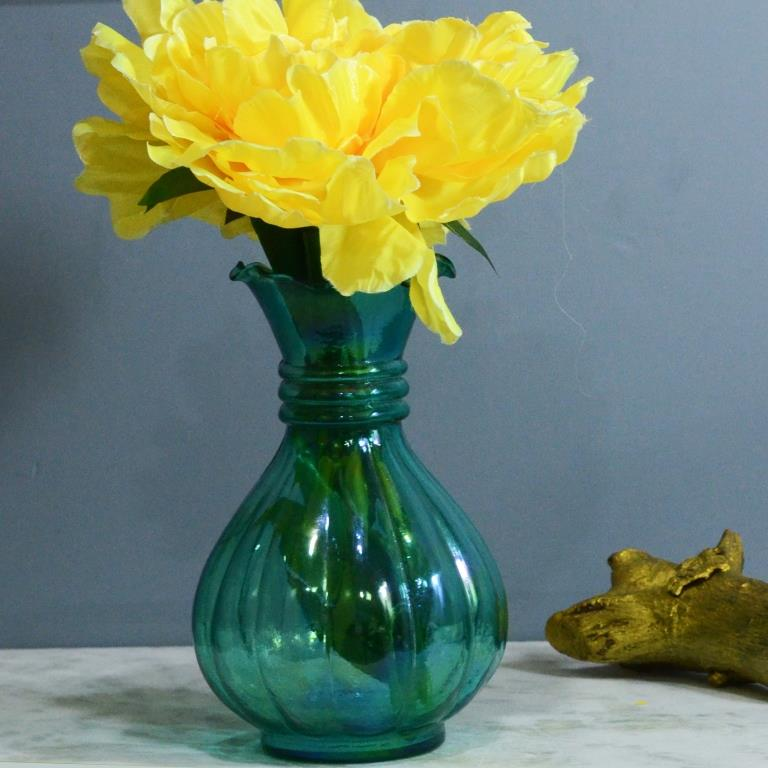 Turquoise Luster Pitcher Flower Vase