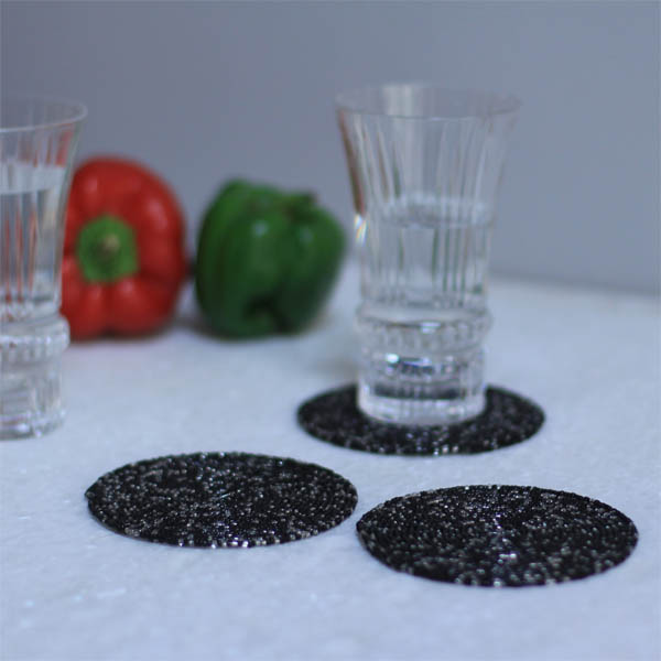 Salt-n-Pepper Spiral Bead Coaster (Set of 4)