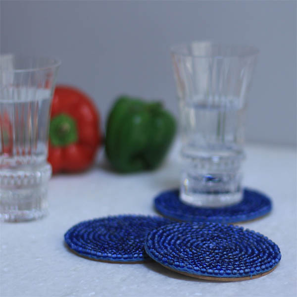 Round Azure Glass Bead Coasters (4 Pc)