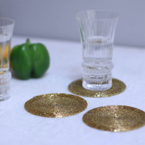 Champagne Gold Spiral Bead Coaster
