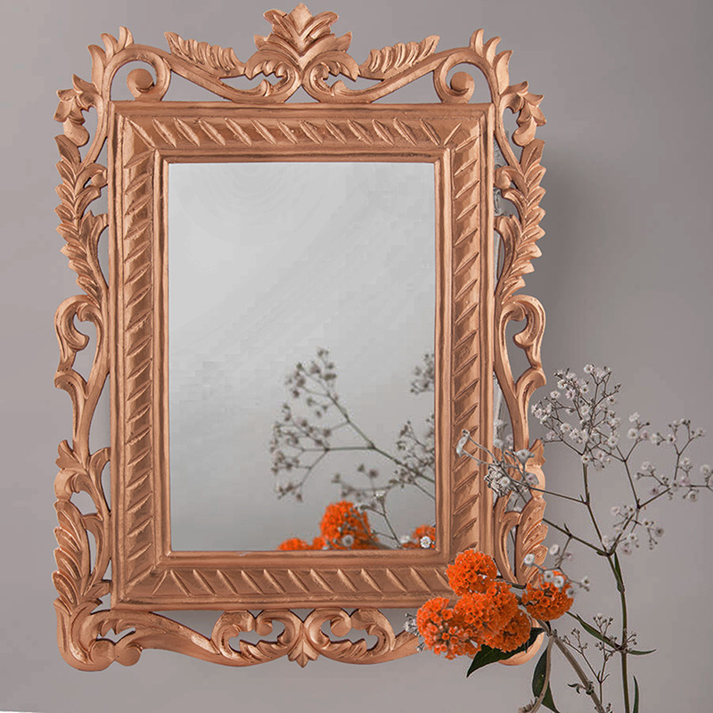 French Carved Royal Vintage Decorative Wooden Wall Mirror