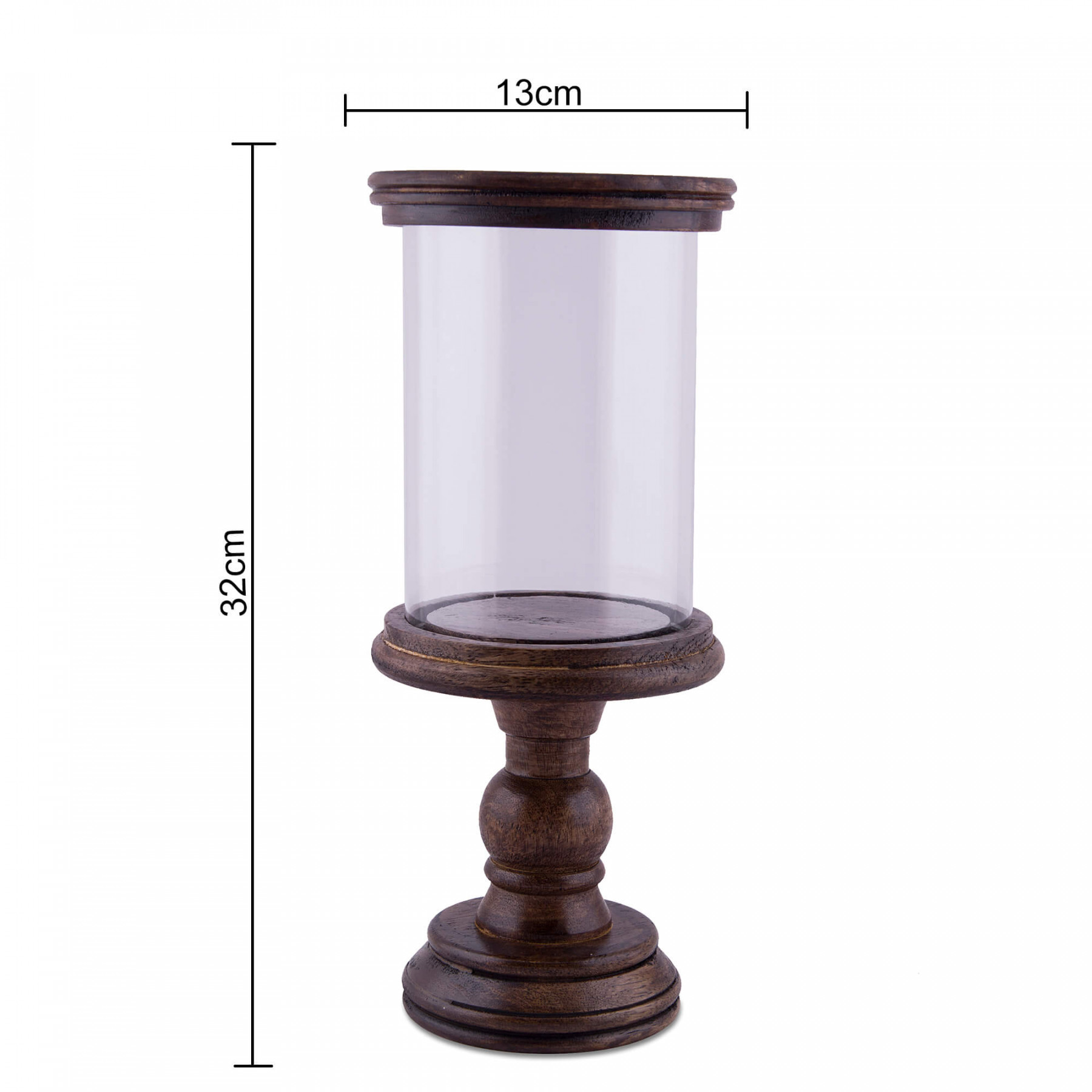Classic Cubist Hurricane, Walnut Finish Wooden Candle Holder With Glass