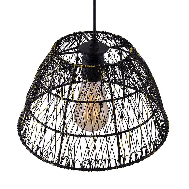 Metal Wire Mesh Lamp Shade Hanging Light Ceiling Pendant Light E27
